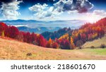 colorful autumn landscape in... | Shutterstock . vector #218601670