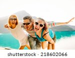 happy friends having fun... | Shutterstock . vector #218602066