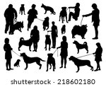 people and dogs silhouettes set  | Shutterstock .eps vector #218602180