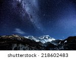 Small photo of himalaya mountain with star in night time