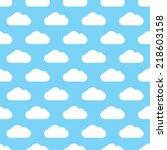 seamless blue clouds pattern... | Shutterstock .eps vector #218603158