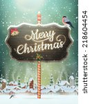 christmas vintage greeting card ... | Shutterstock .eps vector #218604454