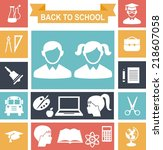set of education icons in flat... | Shutterstock .eps vector #218607058