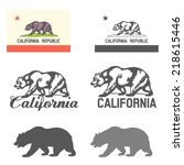 stylized flag of california | Shutterstock .eps vector #218615446