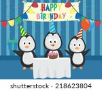 cute penguin in birthday party...