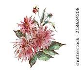 dahlias bouquet | Shutterstock .eps vector #218634208