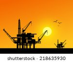 oil derrick in sea for...   Shutterstock .eps vector #218635930