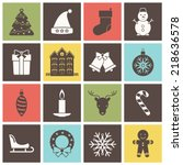 christmas and new year icons... | Shutterstock .eps vector #218636578