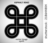 asphalt road black color with... | Shutterstock .eps vector #218644804