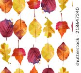 watercolor vector autumn leaves ... | Shutterstock .eps vector #218647240