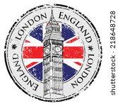london stamp british flag print ... | Shutterstock .eps vector #218648728