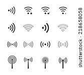 wifi   wireless icons set.... | Shutterstock .eps vector #218658058