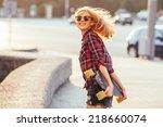 sport fashion girl posing in... | Shutterstock . vector #218660074