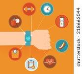 vector fitness tracker concept... | Shutterstock .eps vector #218663044