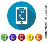 beautiful phone 112 web icon | Shutterstock .eps vector #218665684