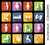 disabled people help flat icons ... | Shutterstock .eps vector #218666890