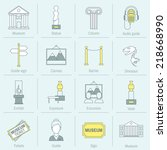 museum icons flat line set of... | Shutterstock .eps vector #218668990