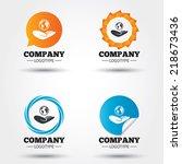 world insurance sign. hand... | Shutterstock .eps vector #218673436