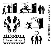 support group meeting stick... | Shutterstock .eps vector #218683483