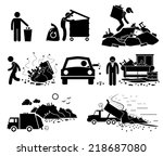 rubbish trash garbage waste... | Shutterstock .eps vector #218687080