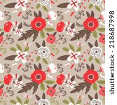 seamless pattern with cute... | Shutterstock .eps vector #218687998