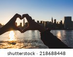 Heart Shaped Hands At Sunset ...