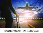 business man and luggage... | Shutterstock . vector #218689963