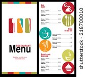 restaurant menu with food and... | Shutterstock .eps vector #218700010