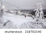 Winter Landscape With Ski Lift...
