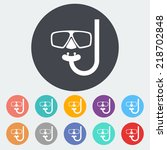 diving. single flat icon on the ... | Shutterstock .eps vector #218702848