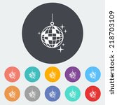 disco ball. single flat icon on ... | Shutterstock .eps vector #218703109