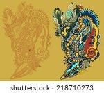 original hand draw line art... | Shutterstock .eps vector #218710273