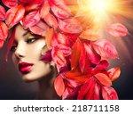 autumn woman fashion portrait.... | Shutterstock . vector #218711158