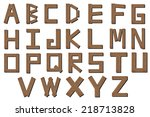 color wooden alphabet isolated ...   Shutterstock . vector #218713828