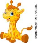 Stock vector illustration of little cute giraffe calf 218723386
