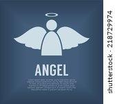 single angel symbol vector... | Shutterstock .eps vector #218729974