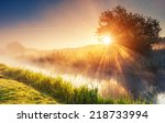 fantastic foggy river with... | Shutterstock . vector #218733994