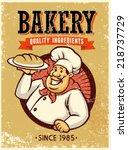 retro style baker presenting a... | Shutterstock .eps vector #218737729