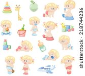 vector babies pattern seamless | Shutterstock .eps vector #218744236