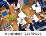 diverse business people working ... | Shutterstock . vector #218754238