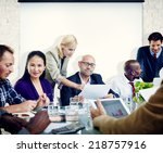 group of people meeting with... | Shutterstock . vector #218757916
