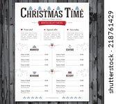 special christmas festive menu... | Shutterstock .eps vector #218761429