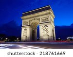 arc de triomphe in paris at... | Shutterstock . vector #218761669
