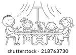 happy family having meal... | Shutterstock .eps vector #218763730