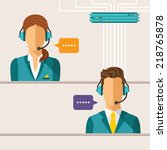 vector call center concept with ... | Shutterstock .eps vector #218765878