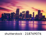 view of miami at sunset ... | Shutterstock . vector #218769076