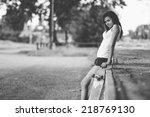 beautiful skater girl in summer ... | Shutterstock . vector #218769130