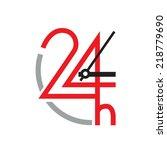 vector sign 24 hour | Shutterstock .eps vector #218779690