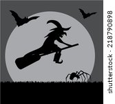 witch with bat  ghost and... | Shutterstock .eps vector #218790898