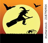 witch with bat  ghost and... | Shutterstock .eps vector #218790904